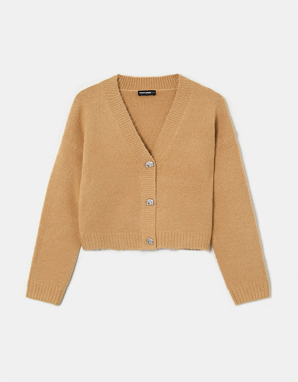 Women's Beige Cropped Cardigan