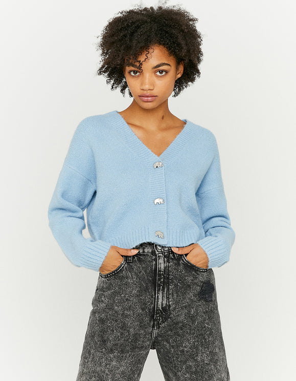 Women's Blue Cropped Cardigan