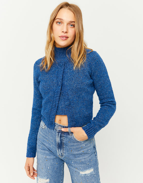 Women's Cropped Lurex Cardigan