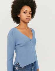 Women's Blue Cropped Ribbed Cardigan