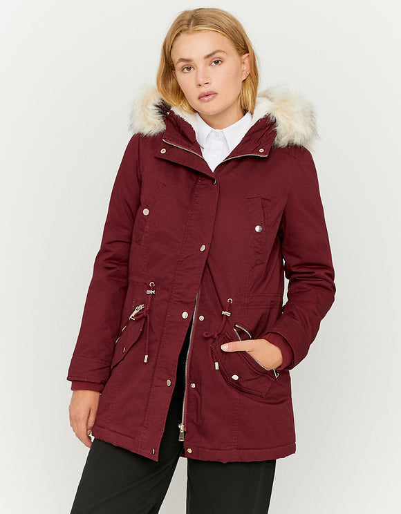 Burgundy Parka with Faux Fur Lining