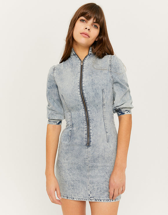 Women's Blue Denim Dress with Puff Sleeves