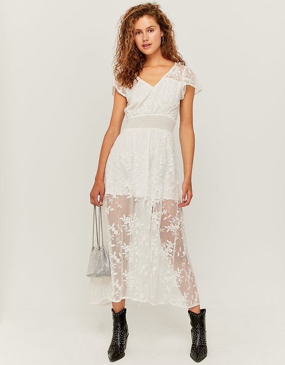 Women's White Lace Maxi Dress by Tally Weijl