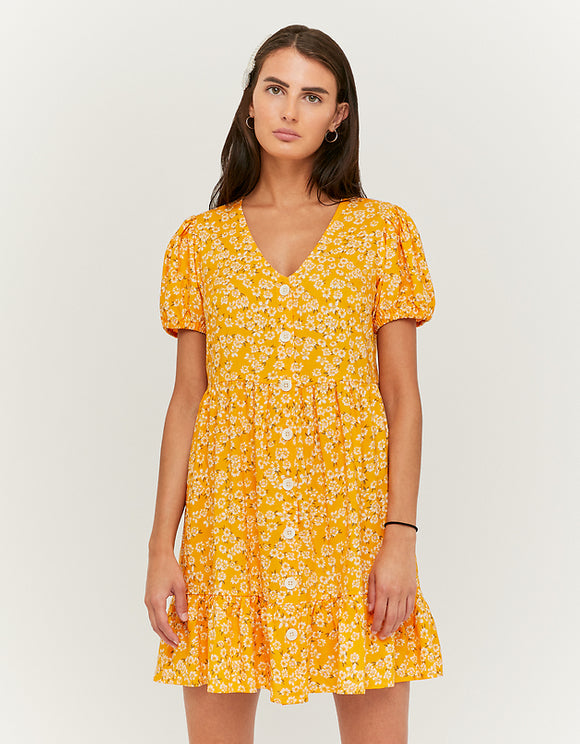 Yellow Floral Button Down Mini Women's Dress