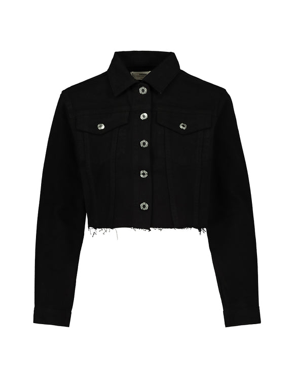 Women's cropped black denim jacket by Tally Weijl