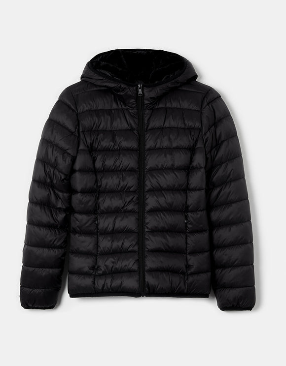 Women's black padded jacket with hood