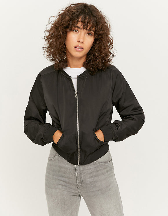 Women's Black Bomber Jacket blk001