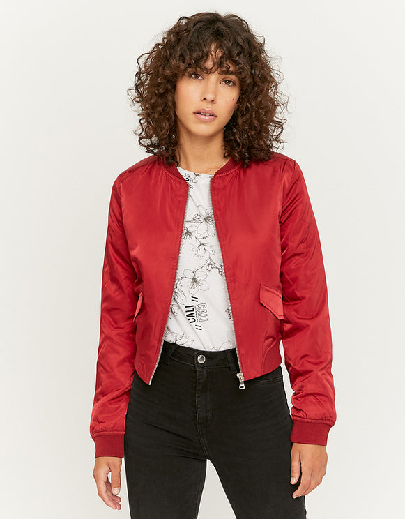 Women's Burgundy Bomber Jacket red099