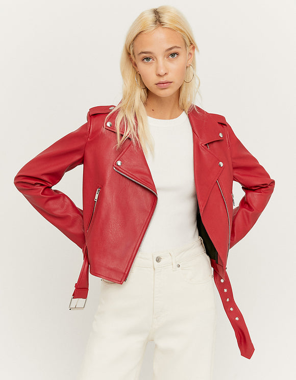Women's Belted Faux Leather Biker Jacket red099