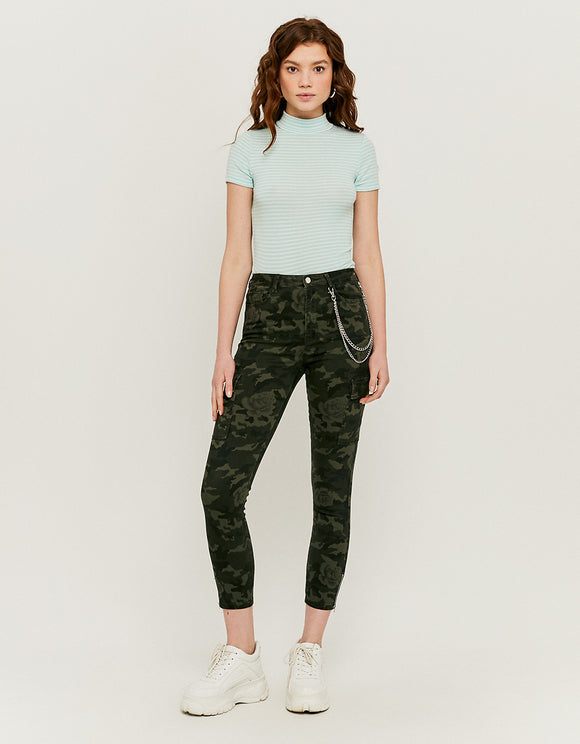 Skinny Women's Cargo Pants with Chain Detail