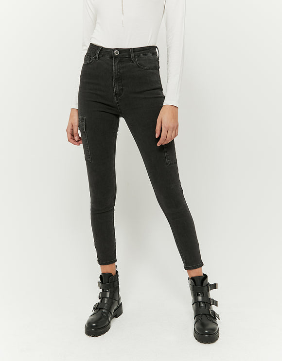 Skinny Cargo Black Pant with High Waist