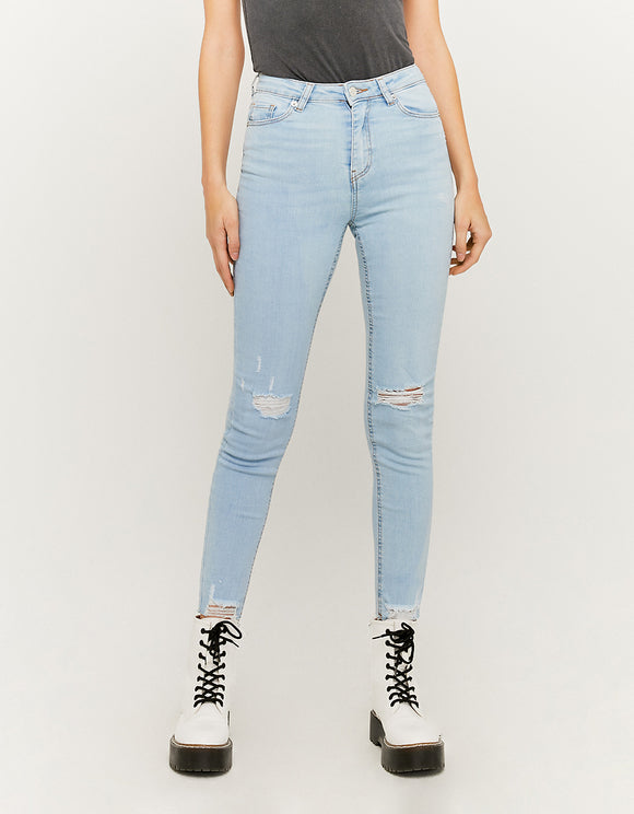 High Waist Skinny Cropped Jeans. SPADEREENE-BLU013