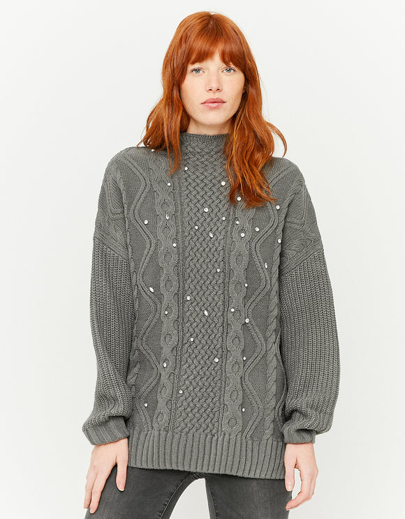 Grey Long Women's Jumper with Rhinestones