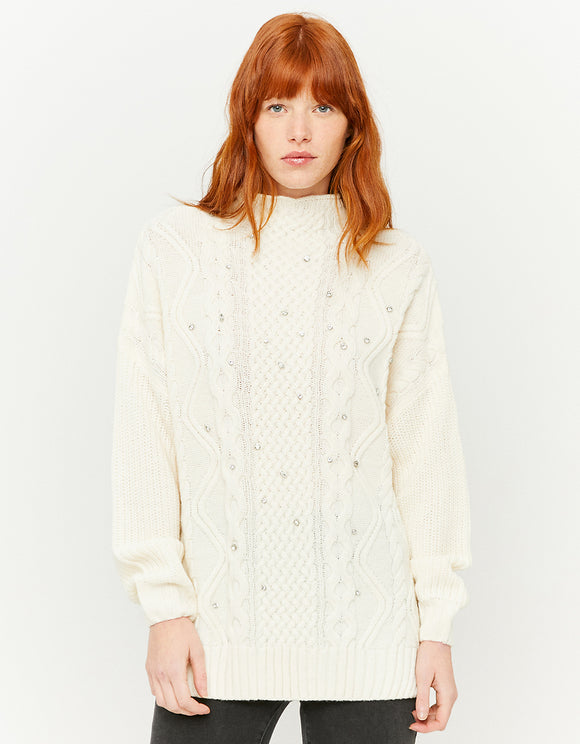 White Long Women's Jumper with Rhinestones