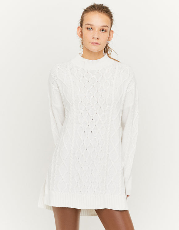 Women's White Long Line Knit Tunique