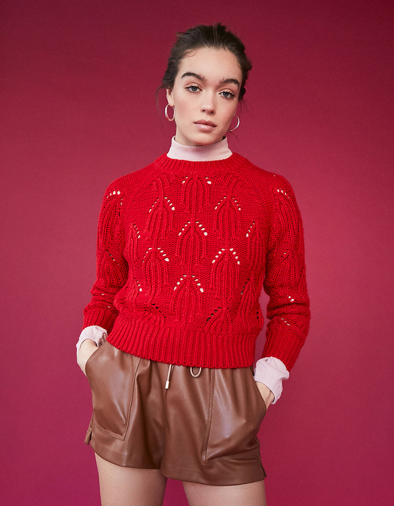 Red Pointelle Jumper
