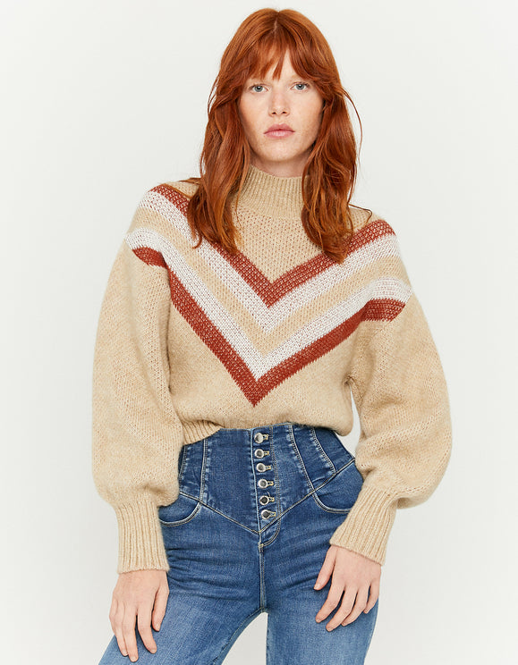 Women's Beige Puff Sleeve Jumper