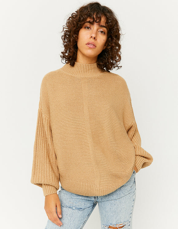 Women's Beige Puffed Sleeves Jumper