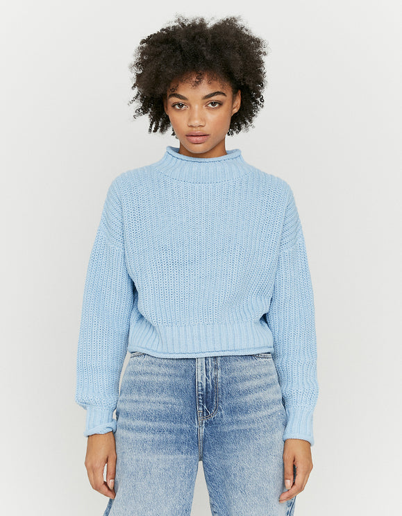 Women's Blue Mock Neck Jumper