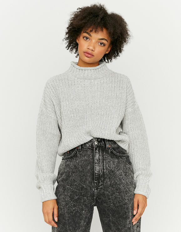 Women's Grey Mock Neck Jumper