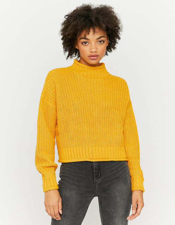 Women's Yellow Mock Neck Jumper