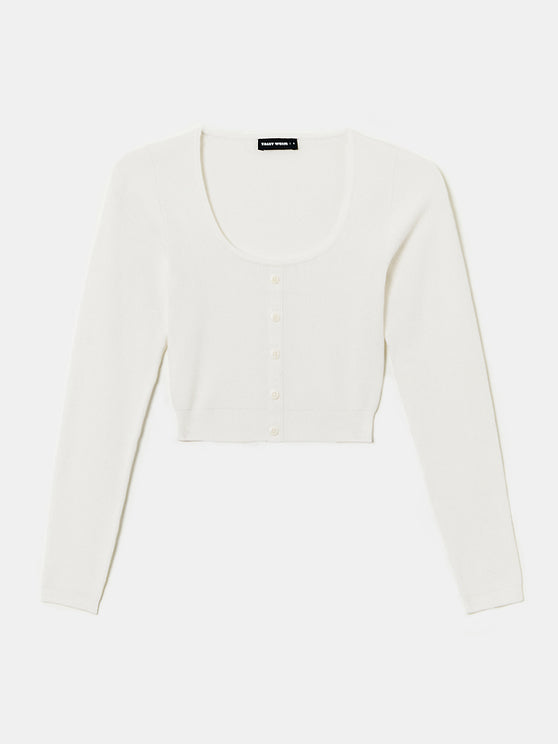 Women's white cropped cardigan