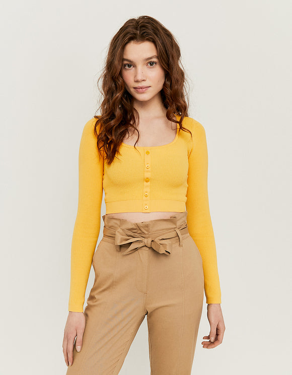 Yellow Cropped Cardigan