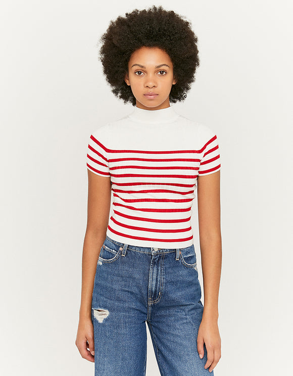 Women's Striped Knit White & Red T-Shirt with Mock Neck