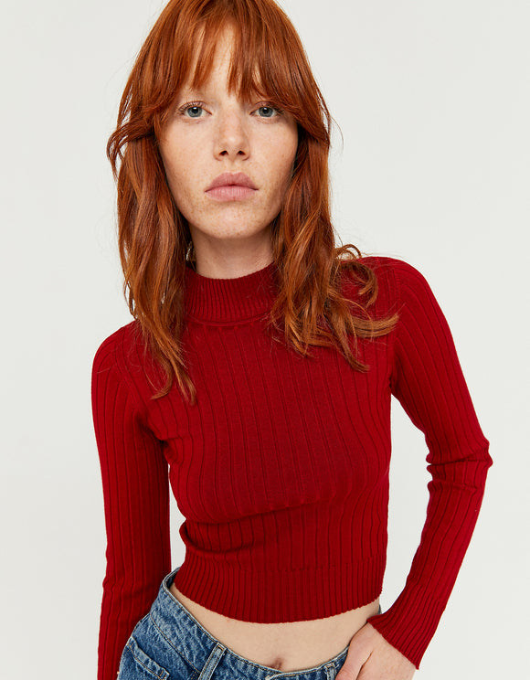 Women's Red Crop Fitted Jumper