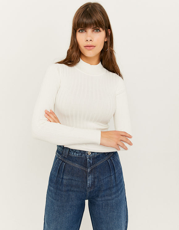 Women's White Ribbed Cropped Jumper