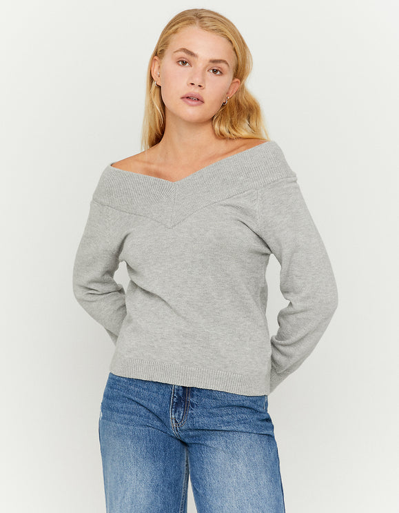 Women's Grey V-Neck Jumper