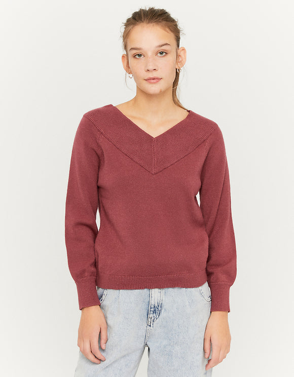 Red V-Neck Jumper-Spuvivivi