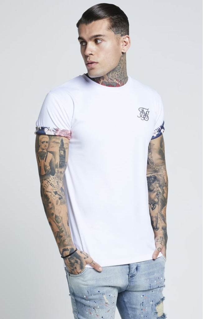 White SikSilk Curved Hem Rolled Sleeve Tee Front