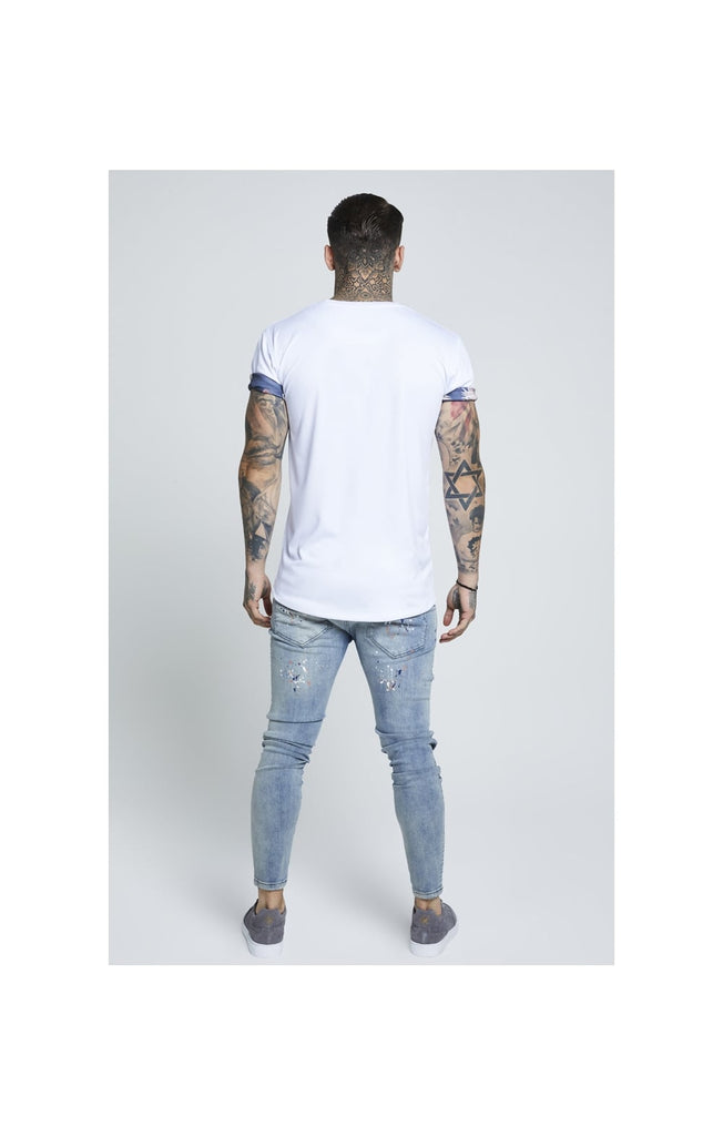 White SikSilk Curved Hem Rolled Sleeve Tee  SS-12864 Rear