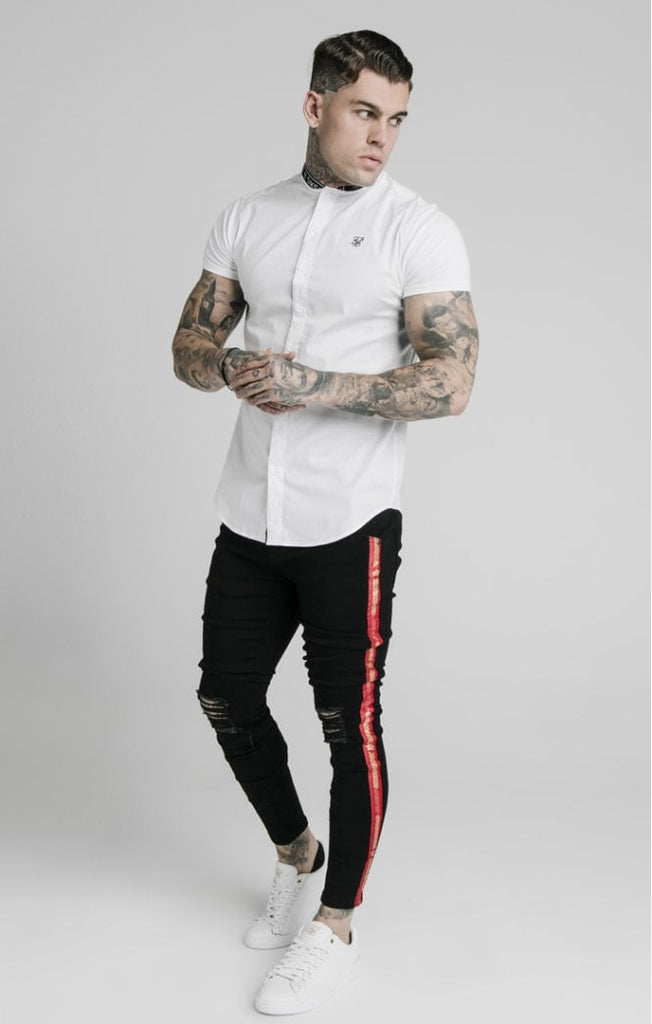 Men's Tape Collar White Short Sleeve Shirt by SikSilk