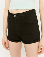 Women's Black High Waist Mini Shorts