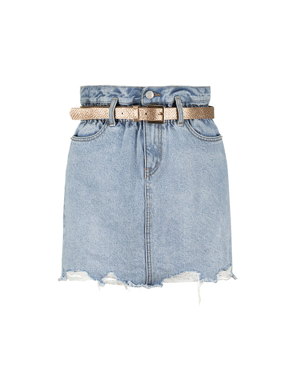 Paperbag Denim Skirt