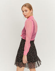 Floral Print Skirt with Ruffles_side