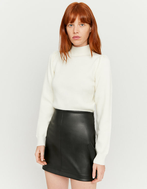 Women's Faux Leather Black Mini Skirt