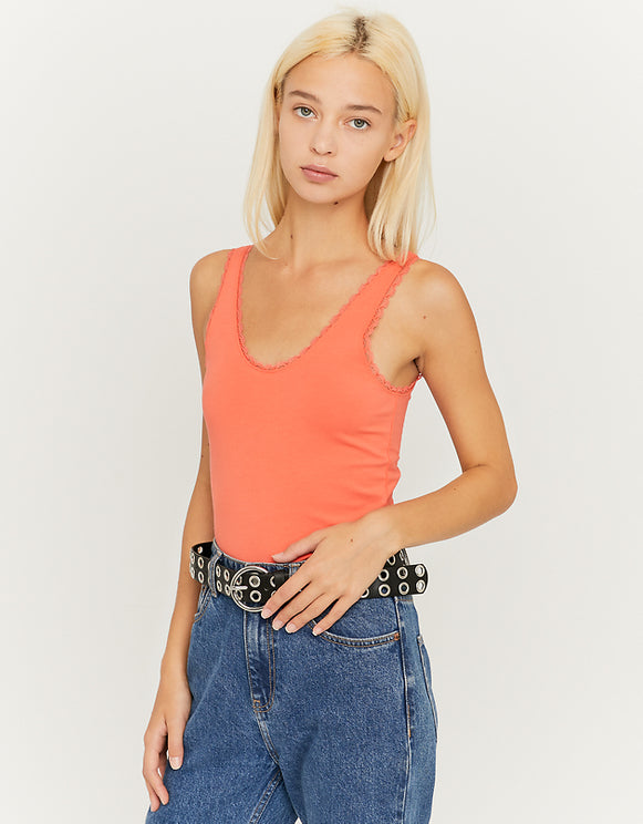 Women's Coral Lace Trim Top