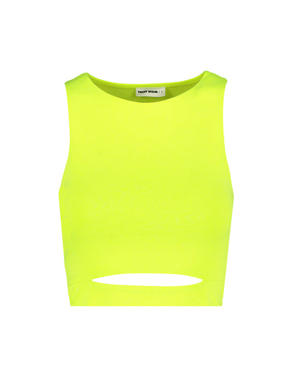 Neon Yellow Front Cut Out Top