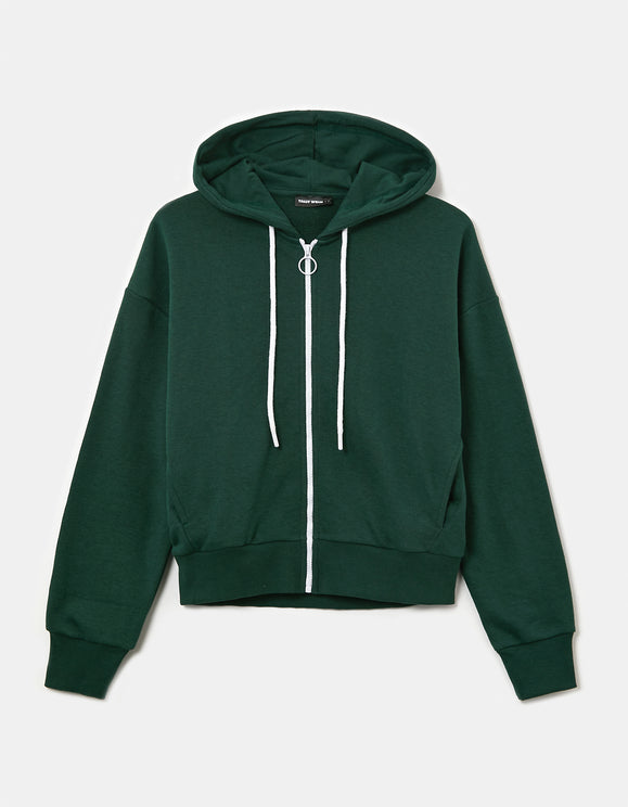 Women's Green Zipped Hoodie