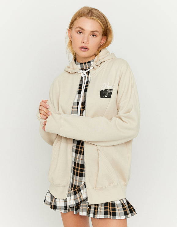 Women's Beige Oversize Zip Up Hoodie