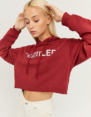 Women's Printed Red Untitled Hoodie red099