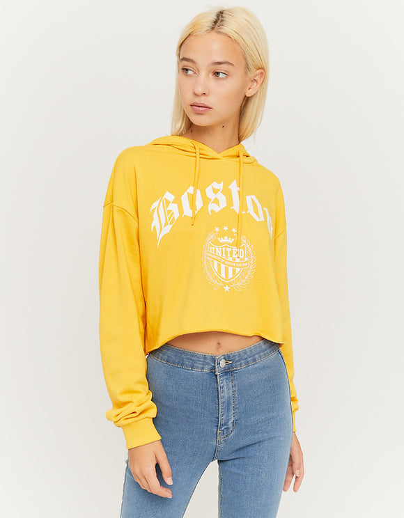 Women's Cropped Yellow Hoodie yel054
