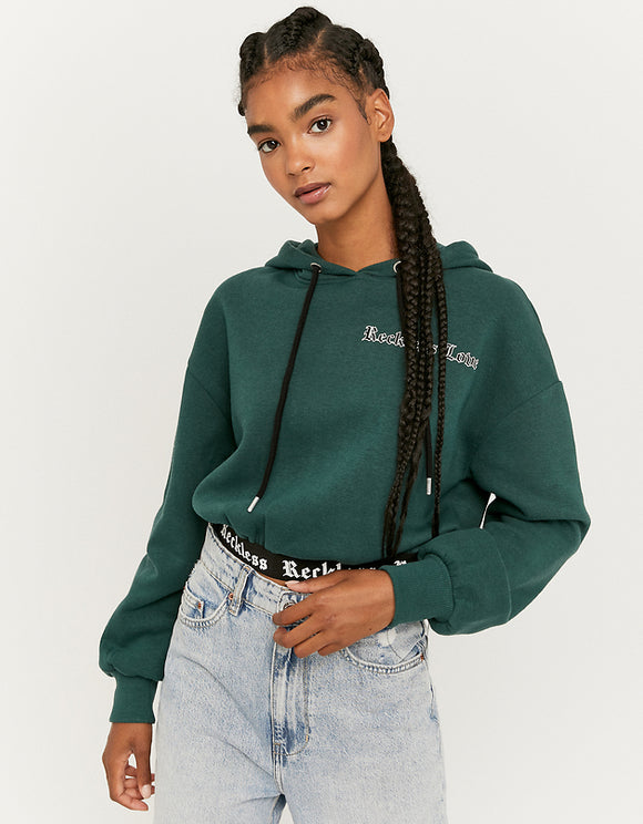 Women's Green Cropped Reckless Hoodie