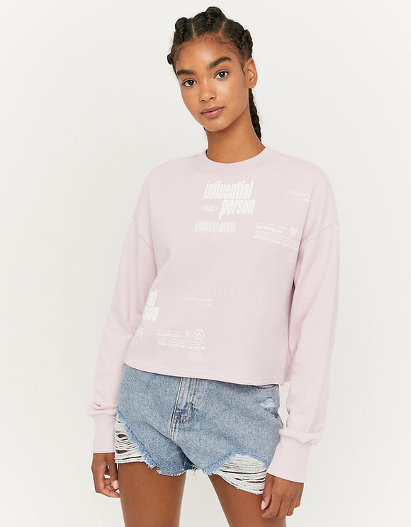 Women's Purple Printed Crew Neck Sweatshirt