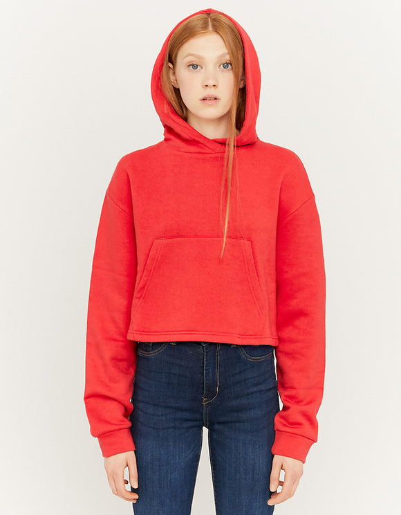 Women's Red Over head Cropped Hoodie