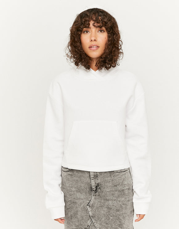 Women's White Cropped Hoodie