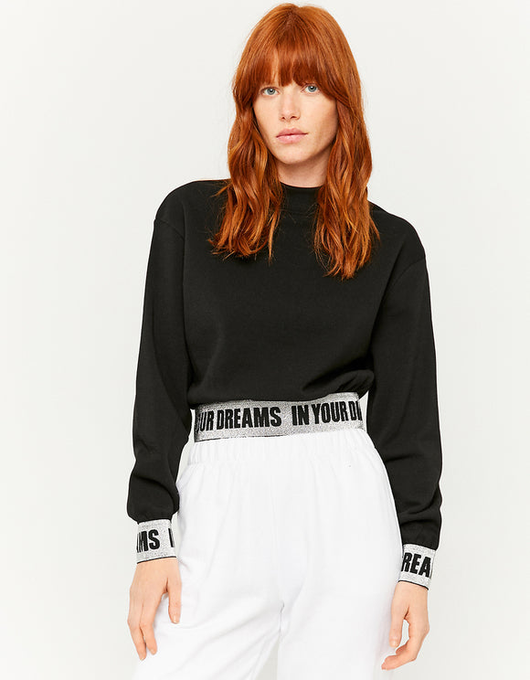 Women's Black Sweatshirt with Slogan Tape